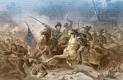Battle Of Shiloh, Charge Of General Poster by Photo Researchers