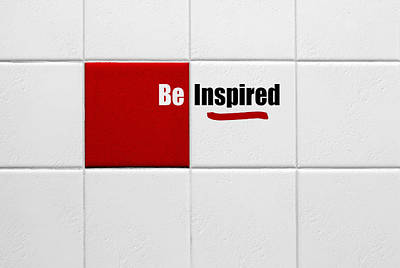 Be Inspired Modern Style Red Tile Poster