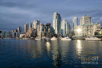 Beach Avenue Downtown Vancouver At Sunset Bc Canada Poster