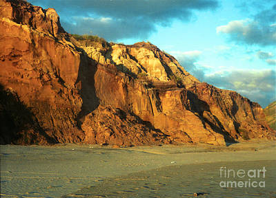 Poster featuring the photograph Beach Cliff At Sunset by Mark Dodd