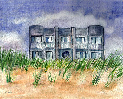 Poster featuring the painting Beach House by Clara Sue Beym