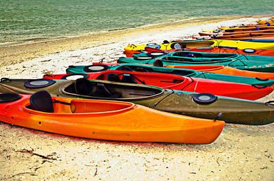 Poster featuring the photograph Beach Kayaks by Susan Leggett