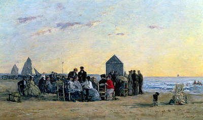 Beach Scene At Trouville - Sunset Poster by Eugene Louis Boudin