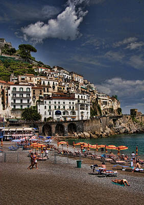 Beach Scene In Amalfi On The Amalfi Coast In Italy Poster