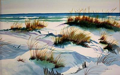 Poster featuring the painting Beach Shadows by Richard Willows