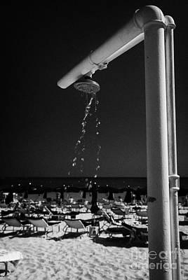 Beach Shower On Harbour Beach Ayia Napa Republic Of Cyprus Europe Poster by Joe Fox