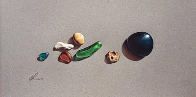 Beach Stones Poster by Elena Kolotusha