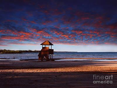Beach Sunset Poster by Ms Judi