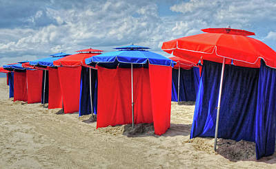 Poster featuring the photograph Beach Umbrellas Nice France by Dave Mills