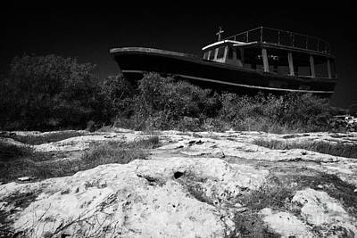Beached Abandoned Fishing Boat In Potamos Typical Small Unspoilt Fishing Village Cyprus Poster by Joe Fox