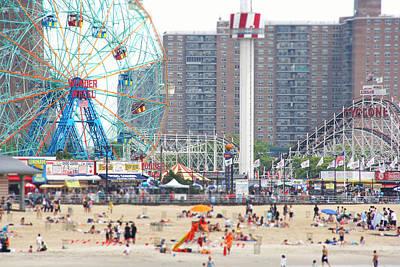 Beachgoers At Coney Island Poster