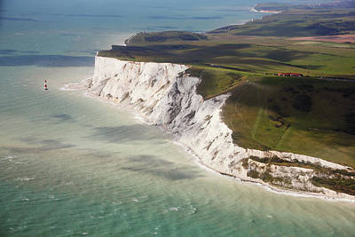 Beachy Head At High Tide Poster by Christopher Hope-Fitch