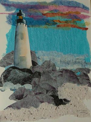 Beacon On The Rocks Poster by Heidi Patricio-Nadon