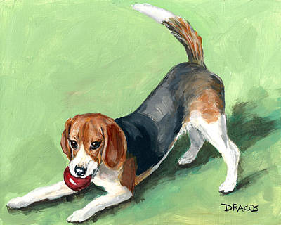 Beagle With Red Ball On Green Poster by Dottie Dracos