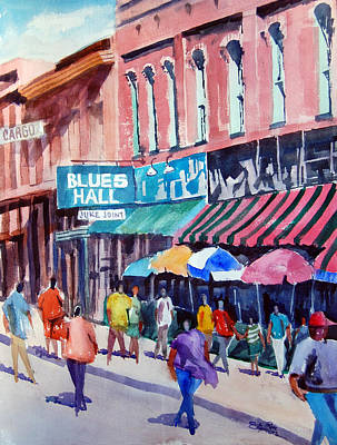 Poster featuring the painting Beale Street Blues Hall by Ron Stephens