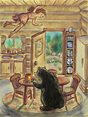 Bear In The Kitchen - Dream Series 7 Poster by Dawn Senior-Trask