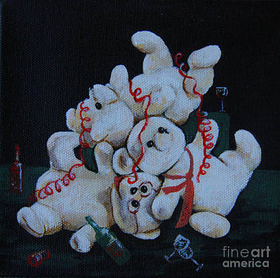 Poster featuring the painting Bear Party by Nareeta Martin