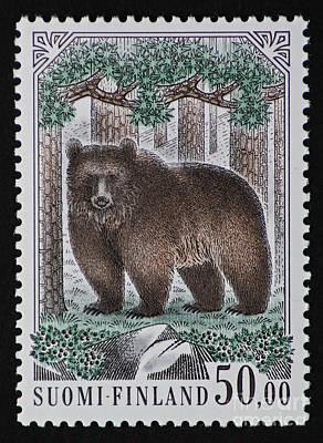 Bear Vintage Postage Stamp Print Poster