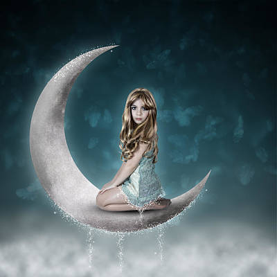 Poster featuring the photograph Beautiful Child Sitting On Crescent Moon by Ethiriel  Photography