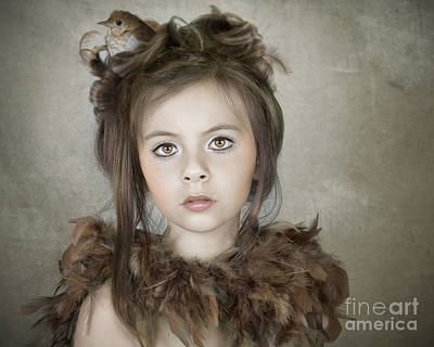 Poster featuring the photograph Beautiful Child With Bird by Ethiriel  Photography