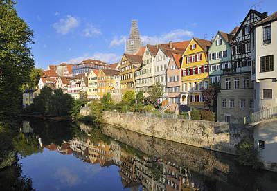 Beautiful German Town Tuebingen - Neckar Waterfront Poster