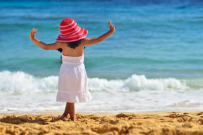 Beautiful Girl With Pink Hat Facing The Ocean Poster