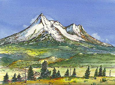 Poster featuring the painting Beautiful Mt Shasta  by Terry Banderas