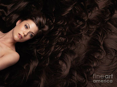 Beautiful Woman In A Sea Of Hair Poster