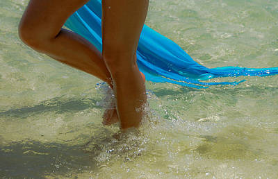 Beautiful Woman Legs In The Crystal Water Poster
