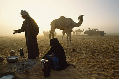 Bedouins Cooking On The Sand Poster