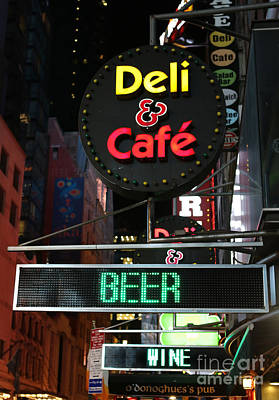 Beer And Wine At The New York Deli Poster by Lee Dos Santos