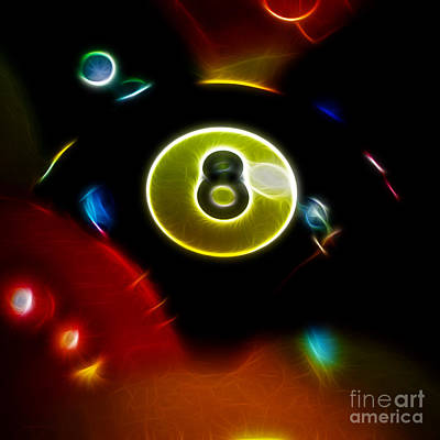 Behind The Eight Ball - Square - Electric Art Poster by Wingsdomain Art and Photography