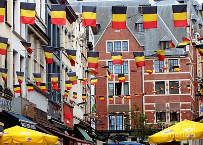 Belgian Flags In Brussels Poster by Carol Groenen