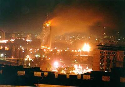 Belgrade Buildings On Fire On April 21 Poster
