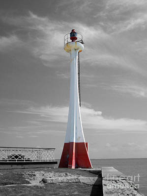 Poster featuring the photograph Belize City Lighthouse Color Splash Black And White by Shawn O'Brien