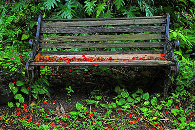 Poster featuring the photograph Bench And Flowers- St Lucia. by Chester Williams