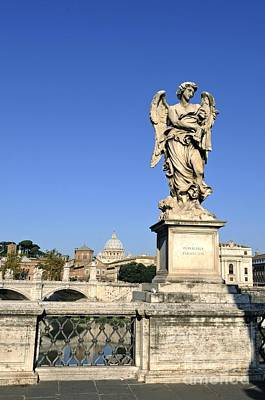Bernini Statue On The Ponte Sant Angelo. River Tiber. Rome Poster by Bernard Jaubert