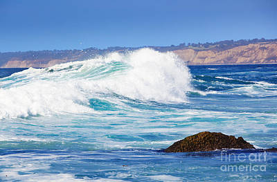 Big Blue Wave Breaks On La Jolla California's Pacific Coast Poster by Susan McKenzie