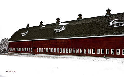 Big Red Barn In Winter Poster by Edward Peterson