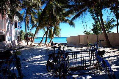 Bikes At Dogs Beach In Key West Poster by Susanne Van Hulst
