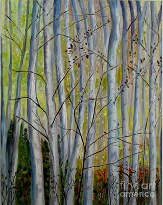 Poster featuring the painting Birch Forest by Julie Brugh Riffey