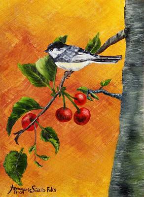 Poster featuring the painting Bird In Chery Tree by Annamarie Sidella-Felts
