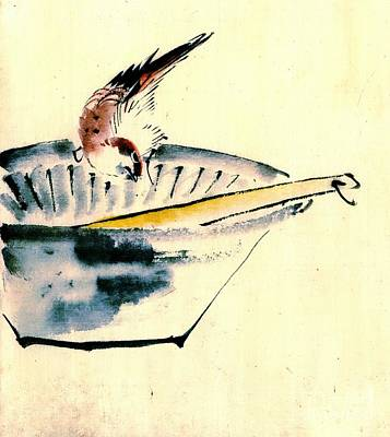 Bird Perched On Bowl 1840 Poster by Padre Art
