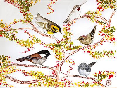 Birds In My Backyard Poster by Alexandra  Sanders
