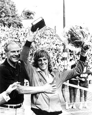 Bjorn Borg, Holding Up His Winners Cup Poster by Everett