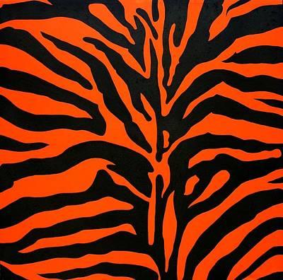 Black And Orange Zebra Poster