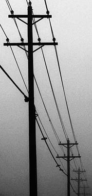 Black And White Poles In Fog Right View Poster