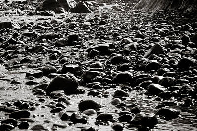 Black And White Rocky Beach Poster
