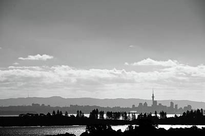 Black And White Skyline Of Auckland, New Zealand Poster by Justin Hoffmann Photography