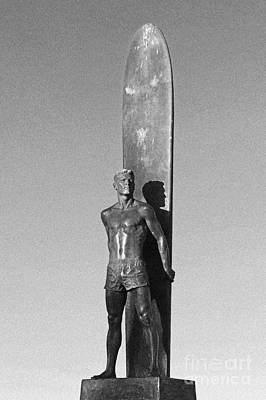 Black And White Surfer Statue Poster by Paul Topp